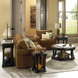 Hammary Dorset 4 Piece Round Coffee Table Set in Black w/ Pretzel Brown