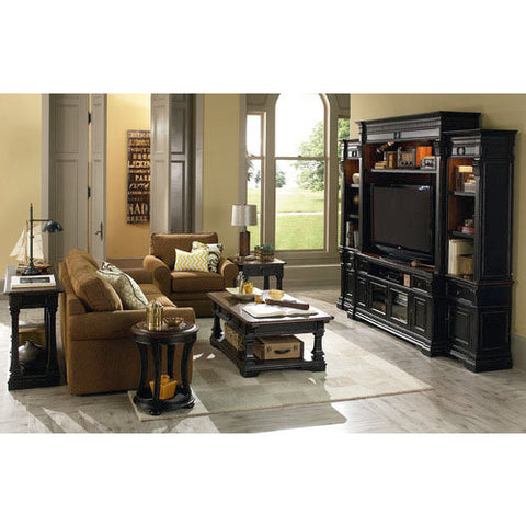 Hammary Dorset 5 Piece Living Room Set w/ Rectangular Cocktail Table in Black & Pretzel Brown