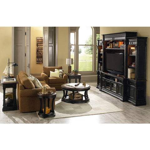 Hammary Dorset 5 Piece Living Room Set w/ Round Cocktail Table in Black & Pretzel Brown