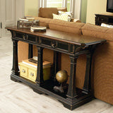 Hammary Dorset Rectangular Sofa Table in Black w/ Pretzel Brown
