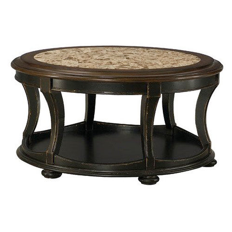 Hammary Dorset Round Cocktail Table in Black w/ Pretzel Brown