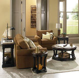 Hammary Dorset Round End Table in Black w/ Pretzel Brown