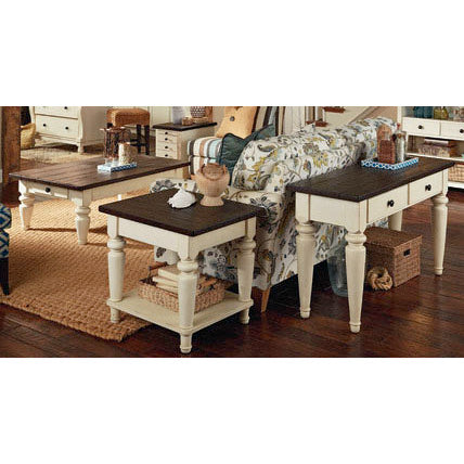 Hammary Heartland 4 Piece Coffee Table Set w/ Smoky Brown Top & Time-Worn Painted Base