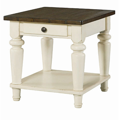 Hammary Heartland Rectangular 1 Drawer End Table w/ Smoky Brown Top & Time-Worn Painted Base