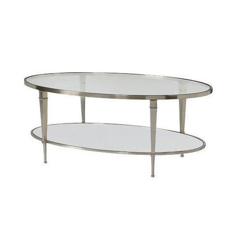 Hammary Mallory Oval Glass Top Cocktail Table in Satin Nickel