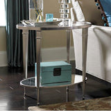 Hammary Mallory Oval Glass Top End Table in Satin Nickel