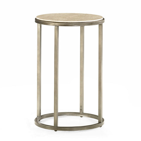 Hammary Modern Basics Round End Table w/ Textured Bronze Base