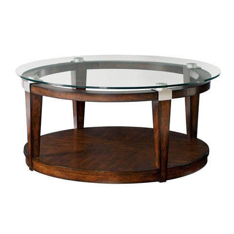 Hammary Solitaire Round Cocktail Table in Rich Dark Brown