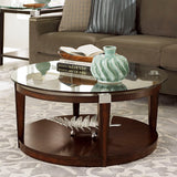 Hammary Solitaire 2 Piece Round Coffee Table Set in Rich Dark Brown