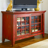 Hammary T73199-99 Hidden Treasures Entertainment Console in Heavily Textured Red