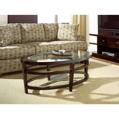 Hammary Urbana Glass Top Oval Cocktail Table Set