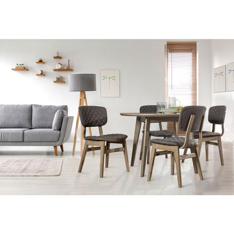 Hillsdale Alden Bay 5PC Modern Round Wood Dining Table with 4 Diamond Stitch Upholstered Side Chairs, Weathered Gray