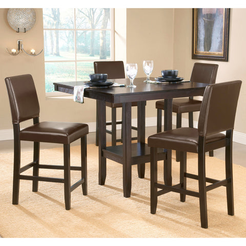 Hillsdale Arcadia 5 Piece Counter Height Table Set in Espresso