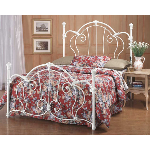 Hillsdale Cherie King Metal Bed in Ivory