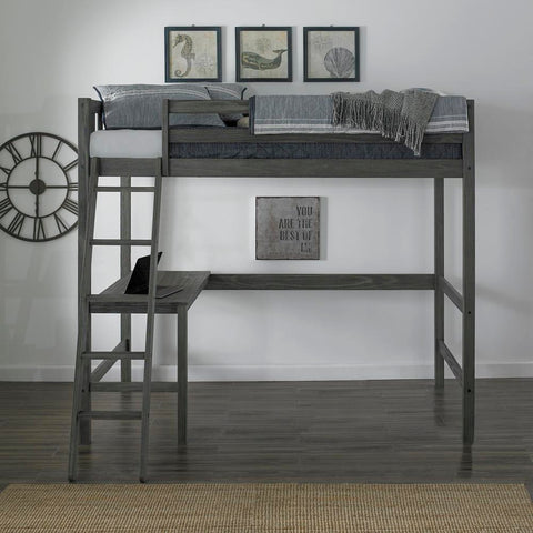 Hillsdale Crosswinds Complete Twin Loft Bed, Wirebrush Gray