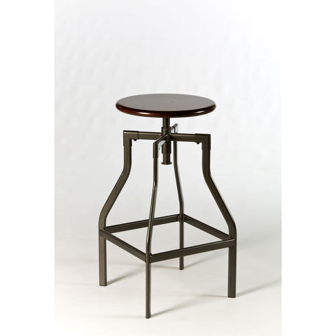 Hillsdale Cyprus Adjustable Backless Stool in Pewter & Distressed Cherry
