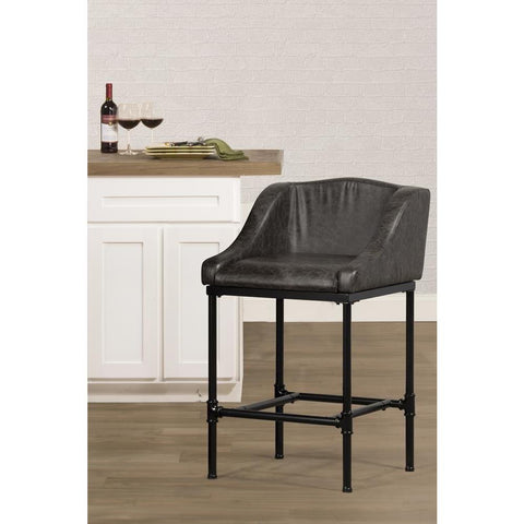 Hillsdale Dillon Non-Swivel Stool - Charcoal Faux Leather