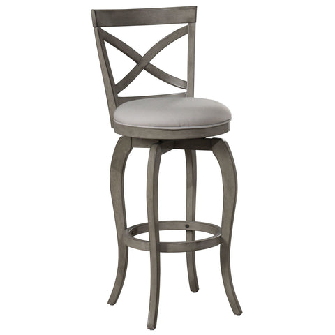 Hillsdale Furniture Ellendale Swivel Barstool in Aged Gray Wood w/Fog Gray