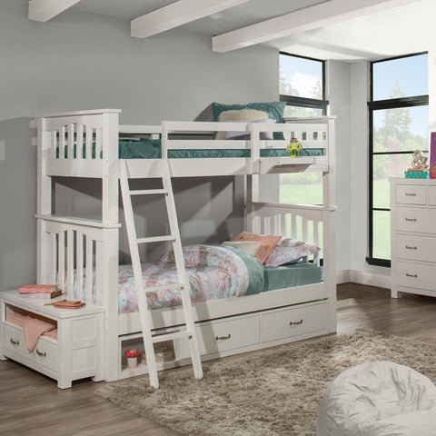 Hillsdale Furniture Highlands Harper Bunk Bed w/2 Storage Units & Hanging Nightstand in White