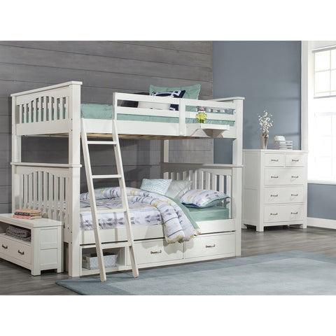 Hillsdale Furniture Highlands Harper Bunk Bed w/Storage Unit & Hanging Nightstand in White