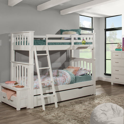 Hillsdale Furniture Highlands Harper Bunk Bed w/Trundle & Hanging Nightstand  in White