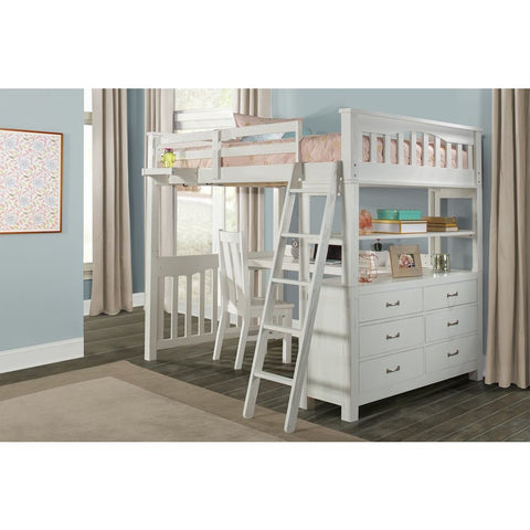 Hillsdale Furniture Highlands Loft Bed w/Desk & Chair & Hanging Nightstand in White