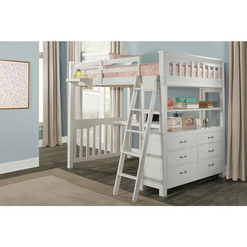 Hillsdale Furniture Highlands Loft Bed w/Desk & Hanging Nightstand in White