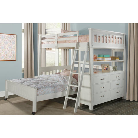 Hillsdale Furniture Highlands Loft Bed w/Full Lower Bed in White