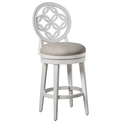 Hillsdale Furniture Savona Swivel Barstool in White & Oyster Beige