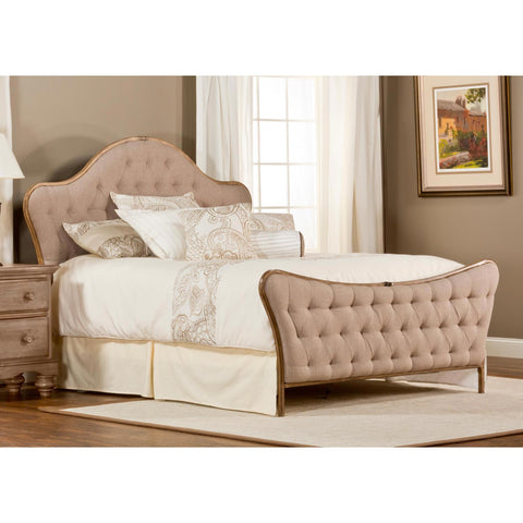 Hillsdale Jefferson Upholstered Panel Bed w/ Rails in Antique Beige