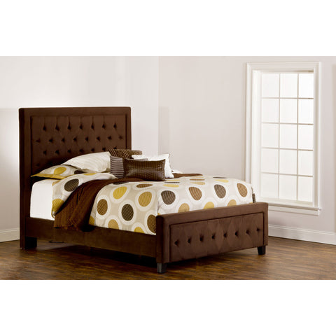 Hillsdale Kaylie Upholstered Panel Bed in Chocolate