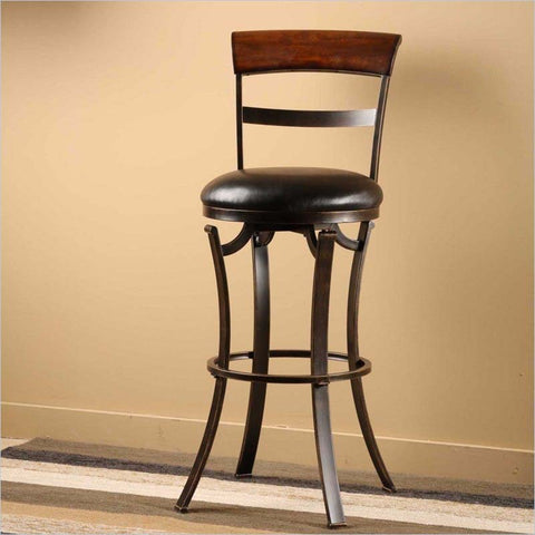 Hillsdale Kennedy Swivel Counter Stool in Black & Gold