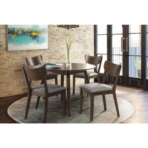 Hillsdale MIDMOD WOOD 5-PIECE ROUND DINING SET (CHESTNUT)