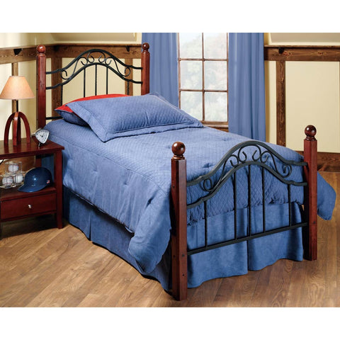 Hillsdale Madison Metal Poster Bed in Textured Black