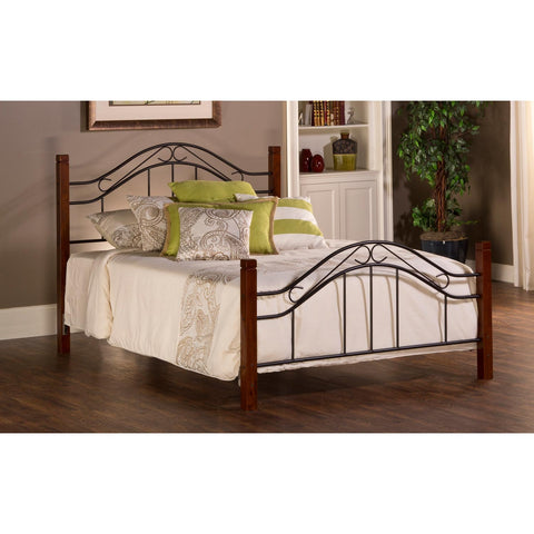 Hillsdale Matson Metal Poster Bed in Cherry & Black