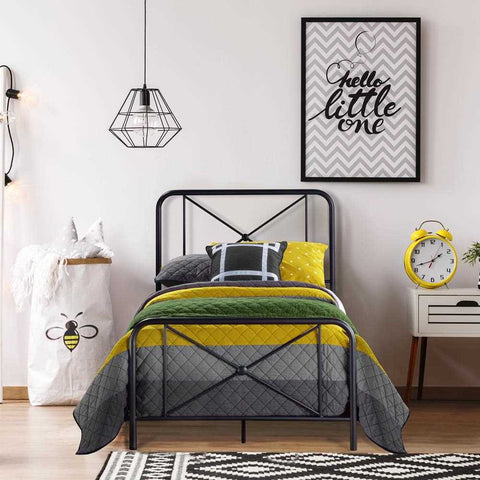 Hillsdale Metal Bed with Decorative Double X Design, Black