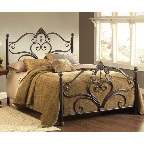 Hillsdale Newton Metal Bed in Antiqued Brown