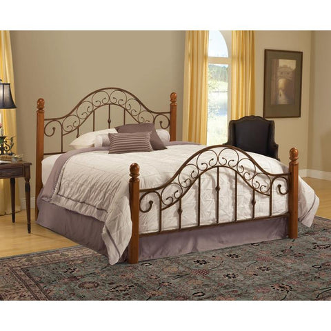 Hillsdale San Marco Metal Poster Bed in Brown Copper & Light Rust