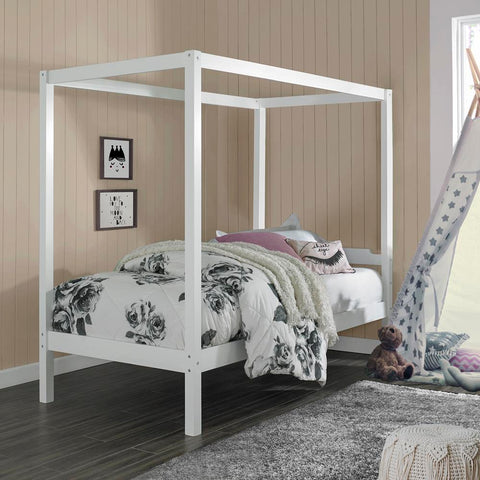 Hillsdale Sutton Wood Canopy Twin Bed, White