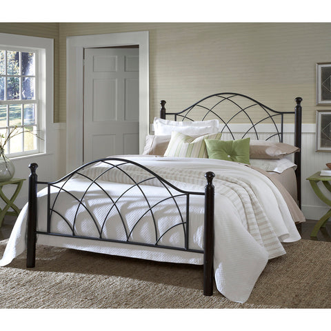 Hillsdale Vista Metal Poster Bed in Silver & Espresso