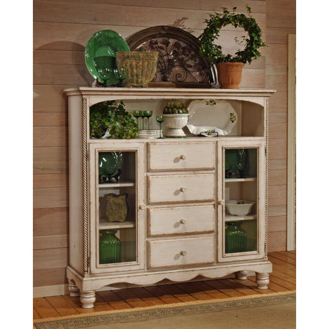 Hillsdale Wilshire Four Drawer Bakers Cabinet in Antique White