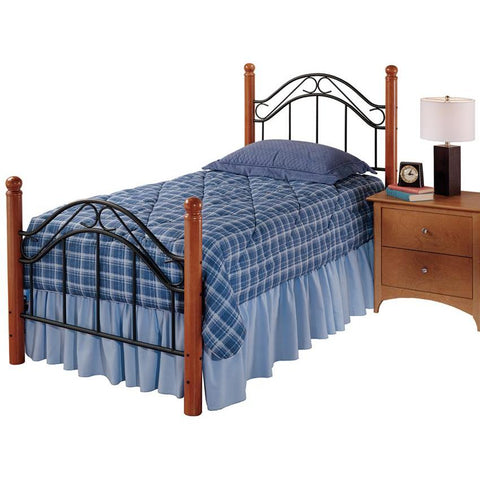 Hillsdale Winsloh Metal Poster Bed in Black & Medium Oak