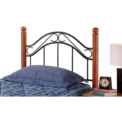 Hillsdale Winsloh Metal Poster Headboard in Black & Medium Oak