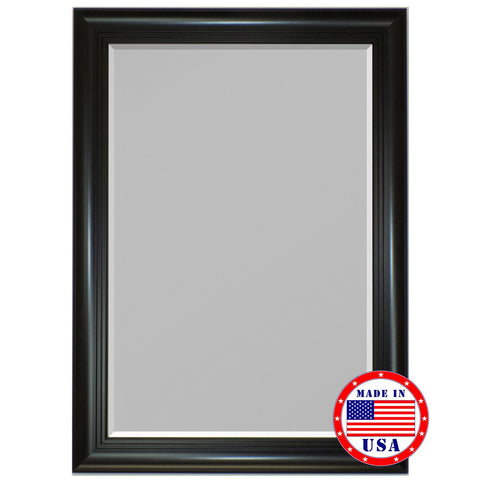 Hitchcock Butterfield 3 Step Satin Black Framed Wall Mirror