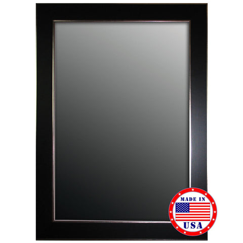 Hitchcock Butterfield Black ForestAndSilver Edged Trim Framed Wall Mirror
