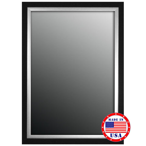 Hitchcock Butterfield Natural Ebony BlackAndSilver Trim Framed Wall Mirror