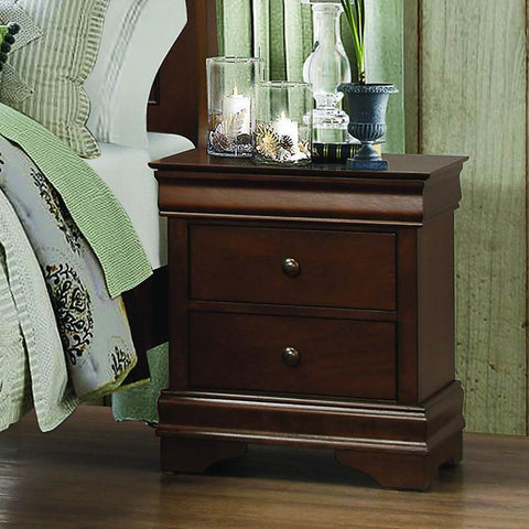 Homelegance Abbeville 2 Drawer Nightstand in Brown Cherry