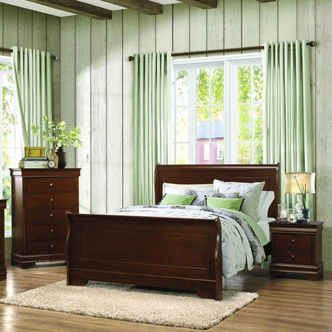 Homelegance Abbeville 3 Piece Sleigh Bedroom Set in Brown Cherry