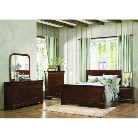 Homelegance Abbeville 4 Piece Sleigh Bedroom Set in Brown Cherry