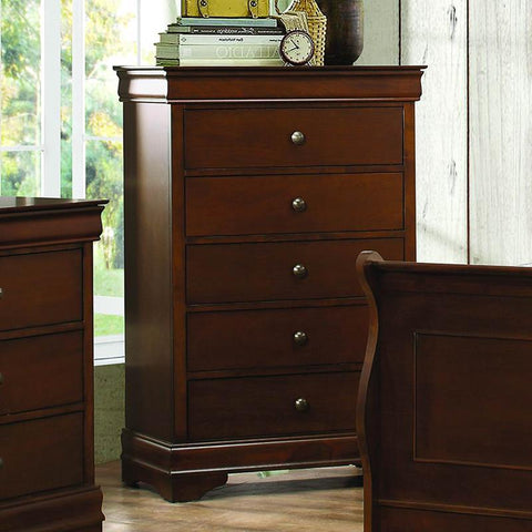 Homelegance Abbeville 5 Drawer Chest in Brown Cherry